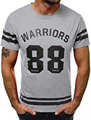 Men's Warriors T-Shirts Casual Slim Fit Short Sleeve Crew Neck Graphic Tops Tees by PER