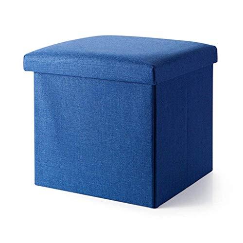 Tabouret Pieds Rangement pliant avec couvercle Pouf Tabouret à chaussures Tabouret Banc Tissu en Lin avec Coussin Repose-Pieds pour Couloir | Salon en Bleu Max. 150 kg (taille : 38x38x38cm)