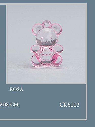 Confezione 50 pezzi, bomboniera applicazione orsetto in plastica, dimensione cm1.5x2, per segnaposto, composizione confetti. (ck6112) (rosa)