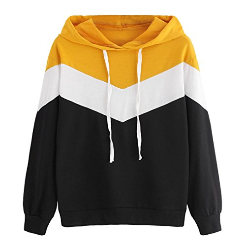 Xinan Kapuzenpullis Langarm Damen Hoodie Sweatshirt mit Pullover Tops Bluse Stickerei Kapuzen von (L, ◕Schwarz) (Hoodie Jeans Top)
