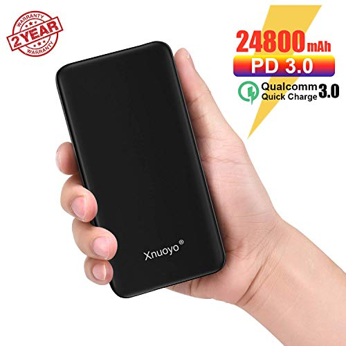 Xnuoyo 24800mAh PD Power Bank,Type-C PD 18W QC 3.0 Power Delivery Externer Akku Quick Charge Powerbank mit LED-Anzeige Kompatibel mit Smartphones und MacBook (Black)