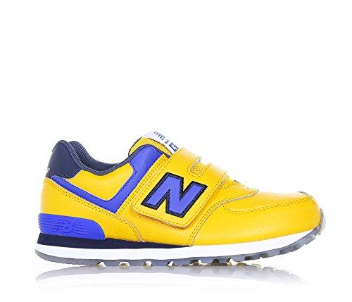 NEW BALANCE - Chaussure de sport jaune et bleue, en cuir et tissu, avec velcro, logo latéral et à l'arrière, coutures visibles et semelle en caoutchouc, garçon, garçons Jaune