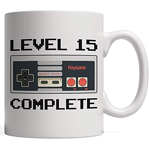 Mug Level 15 Complete, Gamer Birthday Mug | Video Game Lover Controller Anniversary - Fifteen 15 Year Old Bday Gift for Teens, Niece Nephew