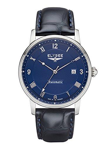 Armbanduhr Herren mit Glasboden | Monumentum Automatic von Elysee | Herrenuhr mit Automatikuhrwerk | Mit Qualitäts-Quarzuhrwerk (blau/blau)