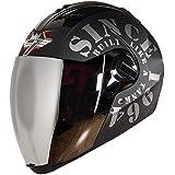Steelbird SBA-2 TANK Full Face Helmet in Matt Finish with Silver Visor (Medium 580 MM, Black/Grey)