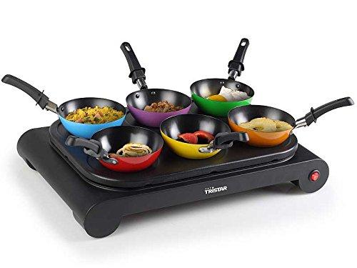 Wok-Set für 6 Personen mit kleinen Pfännchen (Backplatte für Pfannkuchen und Crepes geeignet, antihaft-beschichtet)