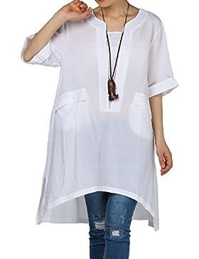 Vogstyle Mujer Camiseta Casual de Verano Tops Blusa Una Línea de Talla Superior CY013