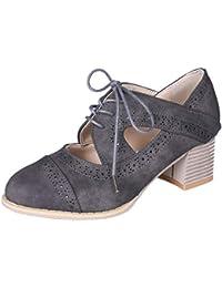 Btruely Zapatos de Mujer❤️Zapatos Tacones con Cordones Bota Cortas de Color sólido Hueco Solo