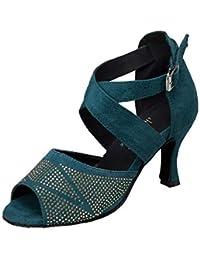 HCCY Zapatillas de Baile Latino con Diamantes Sandalias de Danza Moderna  para Adultos Zapatos de Baile 8fe244c5e8cb