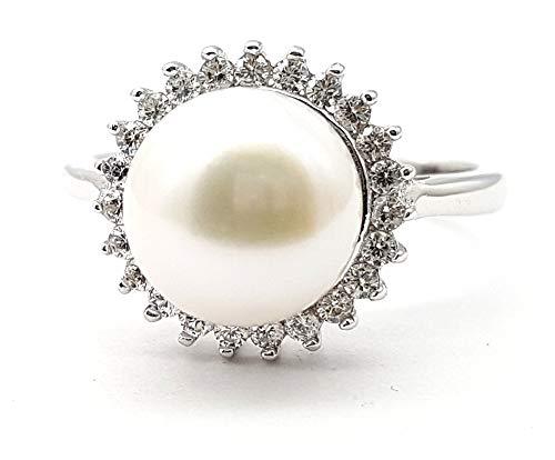 Damen Perlen Ring 9,0 mm Ø 925 Silber rhodiniert 58-18,5 mm Ø