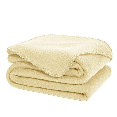 Manta De Lana DOZZZ Super Suave Ultra-cómodo De Gran Tamaño Y De Peso Ligero. Manta de Sofa o De Viaje De 178 x 127 CM (BEIGE)