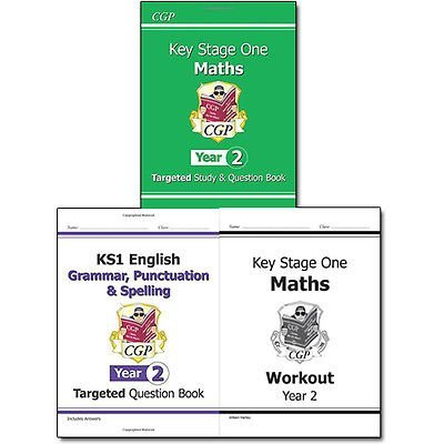 KS1 New Curriculum Year 2 Collection CGP Books 3 Books Bundle (KS1 Maths Targeted Study & Question Book - Year 2,KS1 English Targeted Question Book: Grammar, Punctuation & Spelling - Yr 2,KS1 Maths Workout - Year 2 (for the New Curriculum): Workout Book)