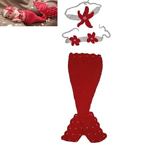 Baby-Mütze Mädchen Meerjungfrau Kostüm Crochet Knitting Props Cartoon nette Rote (Meerjungfrau Halloween Kostüm Für Baby)
