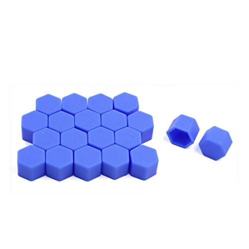 Sourcingmap® 20pcs 19mm Lumineux Bleu Auto Voiture Silicone Boulon/écrou Roue Cache-vis moyeu