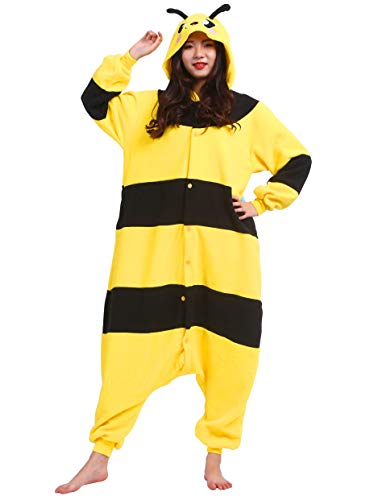 Pigiama anime cosplay halloween costume attrezzatura adulto animale onesie unisex, giallo ape per altezze da 140 a 187 cm