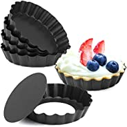 U-HOOME 4 Inch Tart Pans, Nonstick Mini Quiche Pan Removable Bottom Tart Pan Cheesecake Pan Tart Mold Set of 6