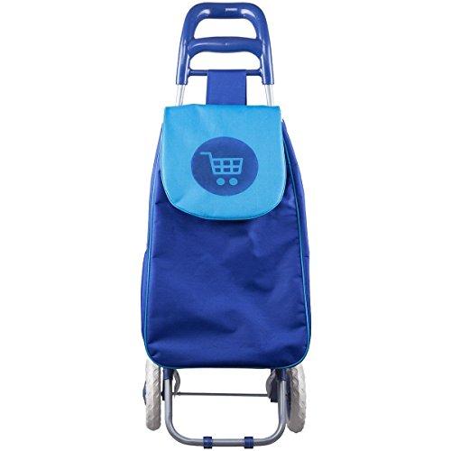 Promobo Chariot De Courses Shopping A Roulettes Collection Fun Picto Bleu