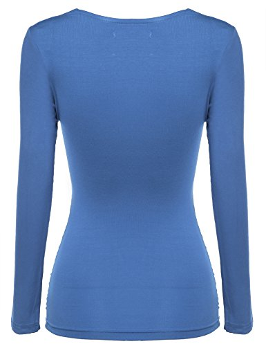 Zeagoo Damen V-Ausschnitt Langarmshirt Tunika Bluse Obertail T-Shirt mit Rüschen Blau