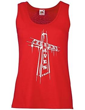 Camisetas sin Mangas para Mujer Jesús ahorra - cristiano, ropa de la religión
