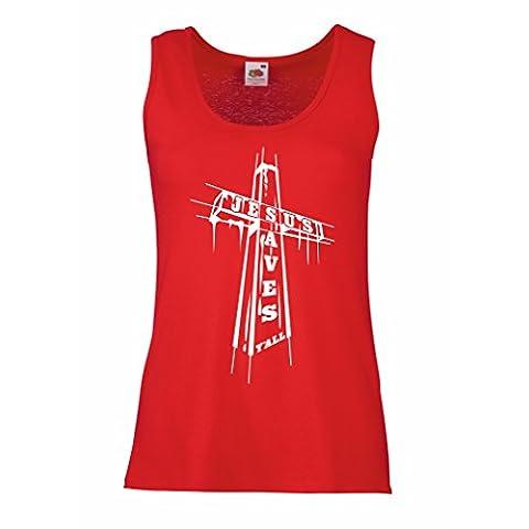 Damen Tank-Top Jesus rettet - christlich, religiöses Kleid (XX-Large Rot Mehrfarben) (Cotton Schlaf Kleidung)
