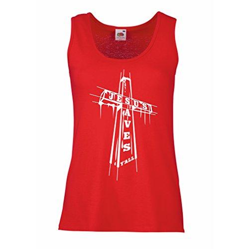 Camisetas sin Mangas para Mujer Jesús ahorra - cristiano, ropa de la religión (XX-Large Rojo Multicolor)