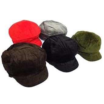 Ladies Retro Corduroy Style Baker Boy Mod Hat Cap Different Colours & Sizes