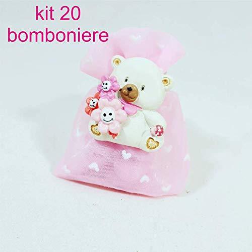 Sindy bomboniere magneti orsetto smile per battesimo bambina con confetti e bigliettino; kit confezionamento fai da te 20 sacchetti + 20 calamite + 20 bigliettini + 1 pacco di confetti