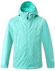 Eono Essentials, giacca impermeabile con cappuccio inamovibile, per bambini, colore verde pastello, 164|Giacca a vento