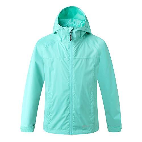 Amazon Marke: Eono Essentials Junior wasserfeste Jacke mit fester Kapuze (Pastellgrün, 128)|Windschutz jacke