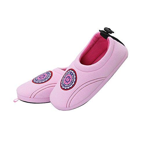 Cotton Soft Top Socken (kenroll Unisex-Kinder Flache Hausschuhe Niedlich Gemütlich Fleece Plüsch Pantoffel Fluff Scuff, Pink ( 31-32 EU ) )