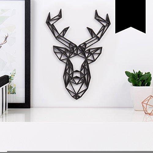 """Kleinlaut 3D-Origamis aus Holz - Wähle ein Motiv & Farbe - """"Hirschkopf"""" - 14,5 x 20 cm (M) - Schwarz"""