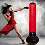 INFLATABLE PUNCH BAG & GLOVES AIR BOXING TRAINING PUNCH GAMES FUN FITNESS GIFT