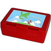 Preisvergleich für Brotdose mit Namen Alessio und schönem Motiv mit Ritter und Drache für Jungen | Brotbox rot - Vesperdose - Vesperbox - Brotzeitdose mit Vornamen