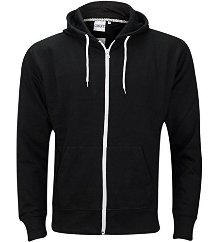 Mens Zip Up Hoody Jacket Black/XL