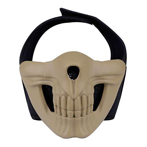 Softair Masken mit Totenkopf-Motiv, Halbgesicht, Totenkopf, Halloween, Cosplay, Abdeckung für Softair und Requisitenmaske, hautfarben