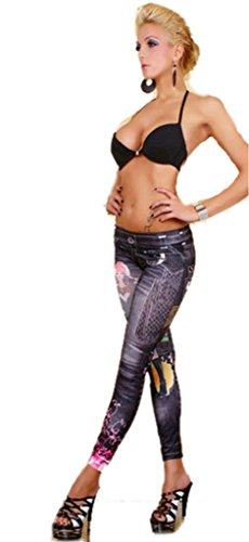Price comparison product image Petite Footless Cropped Woman Pattern jeppinges Stretch Leggings / Jeggings, size 6-14