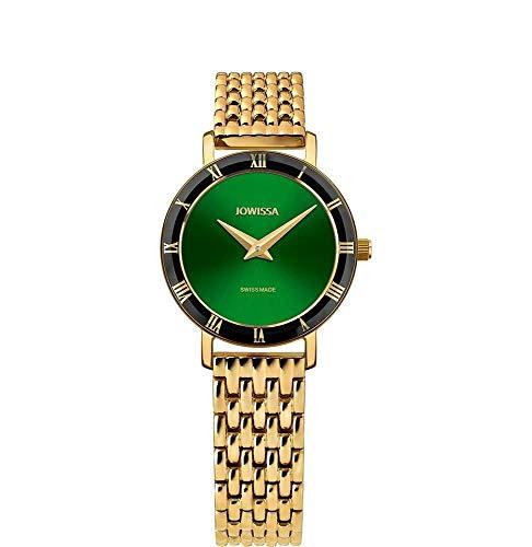 Jowissa Roma Swiss J2.292.S - Reloj de Pulsera para Mujer, Color Verde y Dorado
