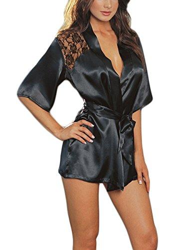 Isassy Womens Sexy Black Silk Like Kimono Sleepwear Dressing Gown