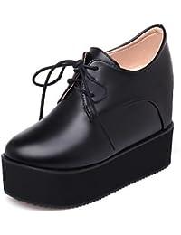 NJX/ Zapatos de mujer - Tacón Bajo - Comfort / Punta Redonda - Oxfords - Vestido / Casual - Semicuero - Negro / Marrón / Rojo , black-us8.5 / eu39 / uk6.5 / cn40 , black-us8.5 / eu39 / uk6.5 / cn40