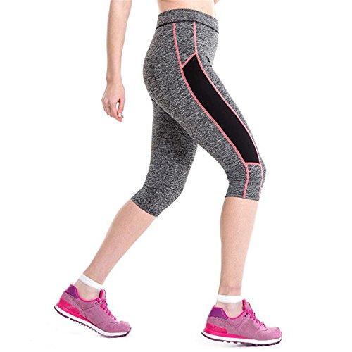 Pantalon de sport Ularmo Femme Taille haute Fitness Yoga Sport Pantalon extensible Cropped Leggings Rose