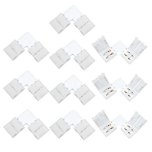 Liwinting 10pz 2 Poli L Forma Collegare 10mm Largo 2 Pin LED Connettore Angolare Senza Saldatura 2 Pin Connettore della Striscia LED per di 10mm Largo SMD 3528 2835 Strisce LED
