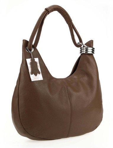 OBC MADE IN ITALY Donna Vera Pelle Borsa Shopper Borsa in pelle borsa borsa con manici borsa a tracolla - Grigio Chiaro, 42x26x10 cm (BxHxT) Marrone (marrone)