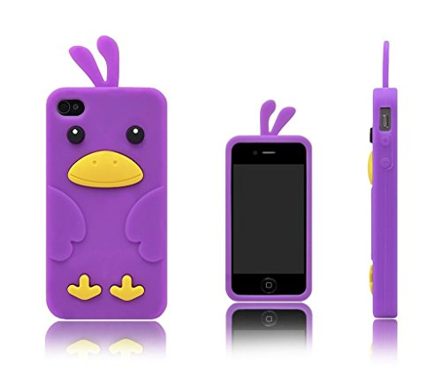 iPhone 5 / 5S / SE Custodia Cover , Keyihan Morbida Silicone Motivo Moda 3D Protettiva Case per Apple iPhone 5/5S/SE (Gatto verde) Viola