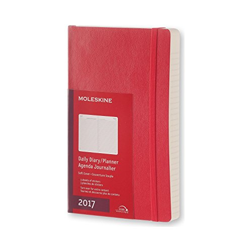 2017 Moleskine Scarlet Red Large Daily Diary 12 Month Soft por Moleskine