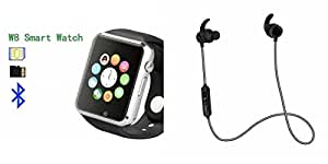 MIRZA Smart Watch & Reflect HEadset for XOLO Q1020(Reflect HEadset & A1 Smart Watch Phone with Camera & SIM Card Support Hot Fashion New Arrival Best Selling Premium Quality Lowest Price with Apps like Facebook,Whatsapp, Twitter, Sports, Health, Pedometer, Sedentary Remind,Compatible with Android iOS Mobile Tablet-Silver Color)