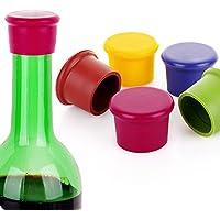 Colori assortiti riutilizzabile in silicone bottiglia di vino tappi sughero Tappo sigillante, perfetto per vino champagne bevanda birra, confezione da 5