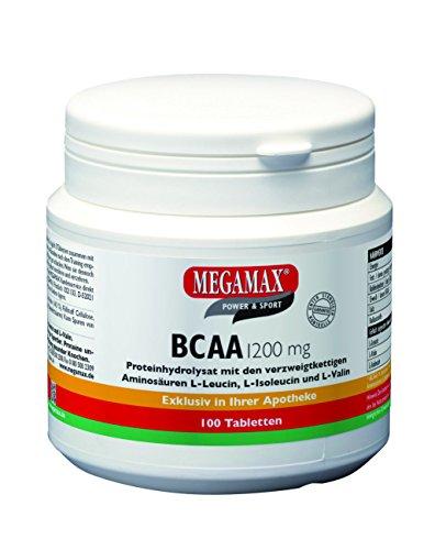 Megamax BCAA 1.200 mg Branched Chain Amino Acids, verzweigtkettige Aminosäuren, 100 Tabletten (220 g).