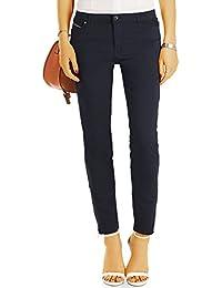 bestyledberlin Damen Kürzere Chino Hosen, Super stretchige Skinny Fit Stoffhosen, Basic Sommerhosen 6/7 Schnitt j07k-n
