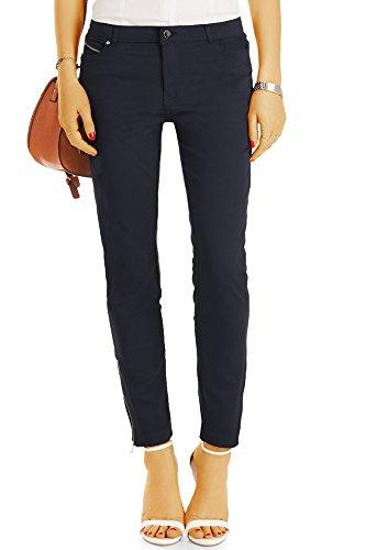 Bestyledberlin Damen Kürzere Chino Hosen, Super stretchige Skinny Fit Stoffhosen, Basic Sommerhosen 6/7 Schnitt j07k-n 42/XL schwarz