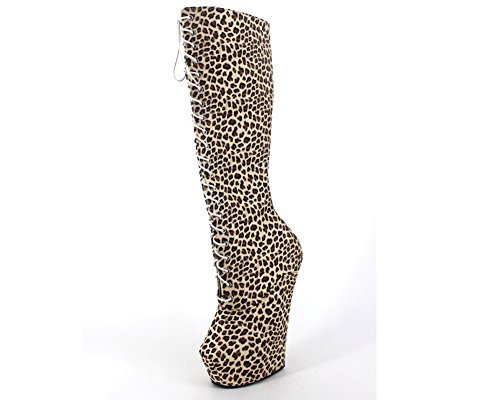 Wonderheel heelless knee high boots leopard fetish platform lace up boots (Knee Boots Lace Up High)